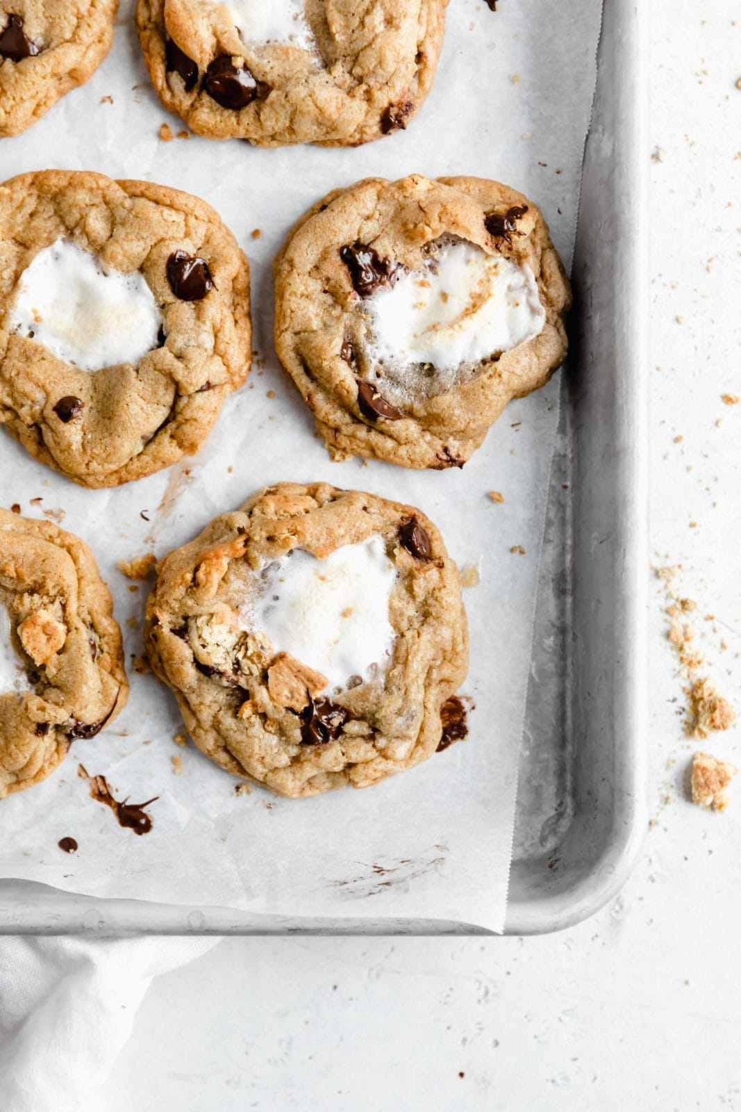 overhead shot of s'mores cookies with a gooey marshmallow center