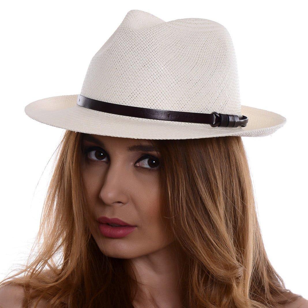 Pălărie Panama Clyde bianco/curea din piele maro