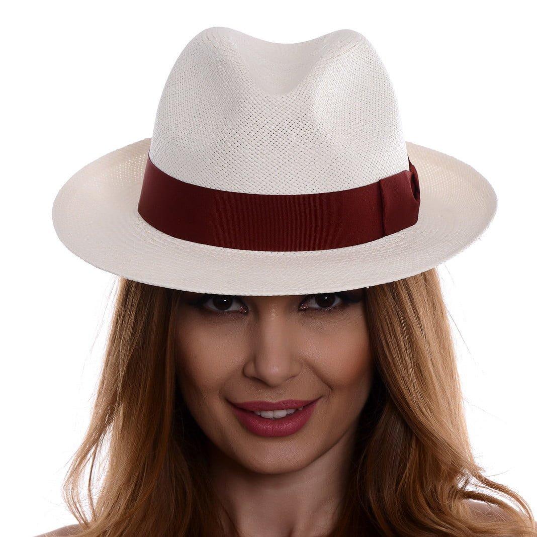 Pălărie Panama Clyde bianco/rosso