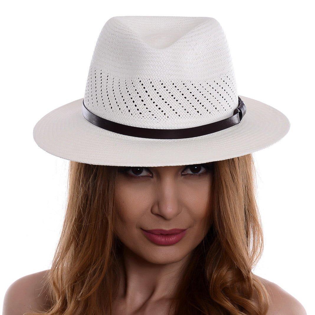 Pălărie Panama Jazz randa/curea piele maro