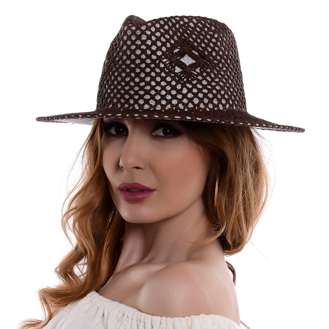 Pălărie Mozaik negru/maro hartie