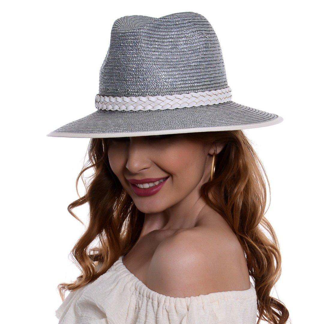 Pălărie Fancy gri/alb paie