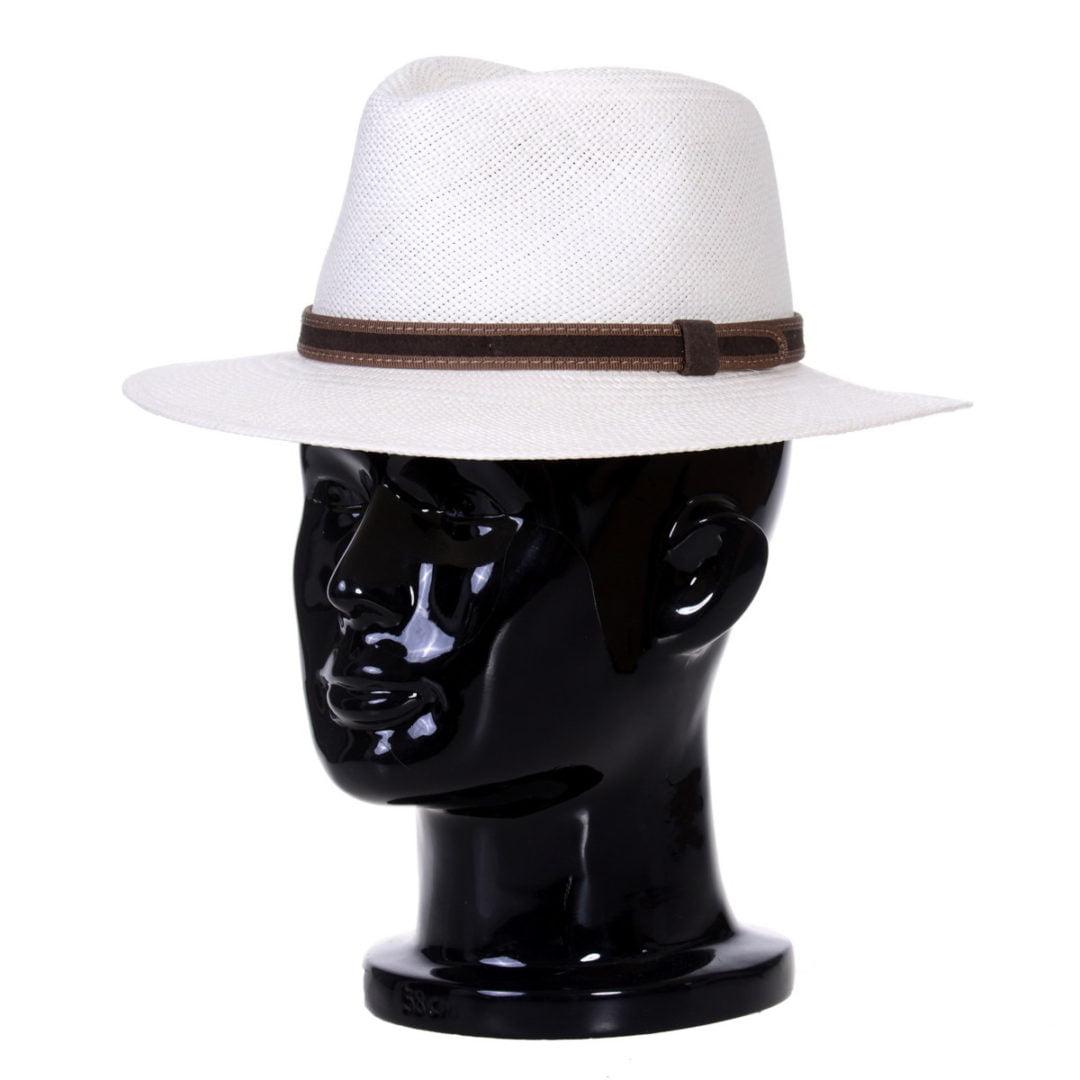 Pălărie Panama Merlin bianco/curea de piele întoarsă maro