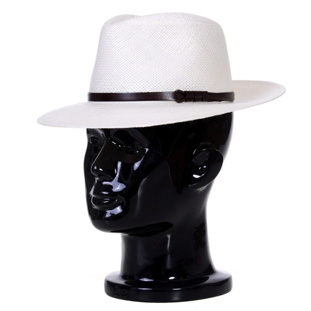 Pălărie Panama Merlin bianco/curea de piele maro