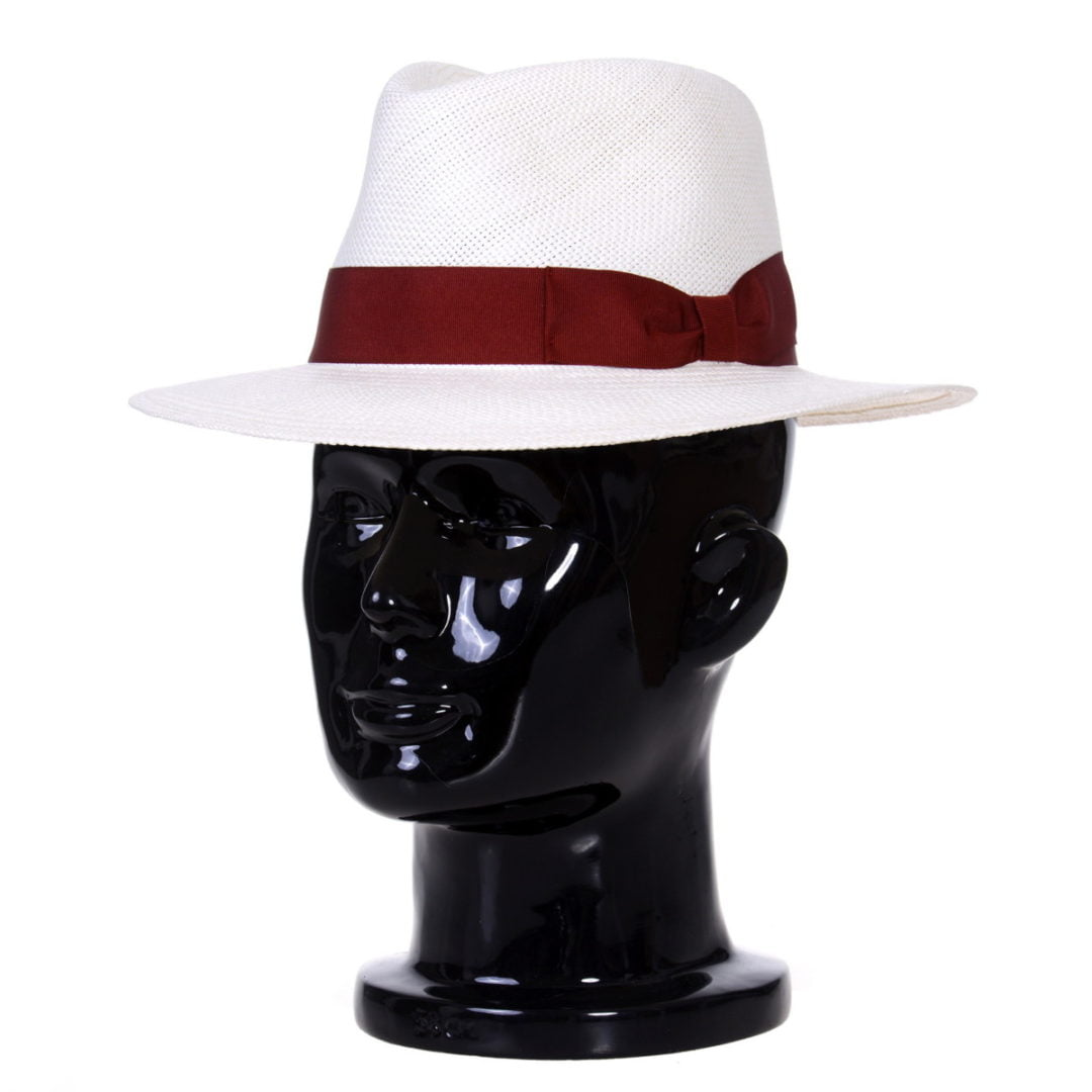 Pălărie Panama Merlin bianco/bandă roșie