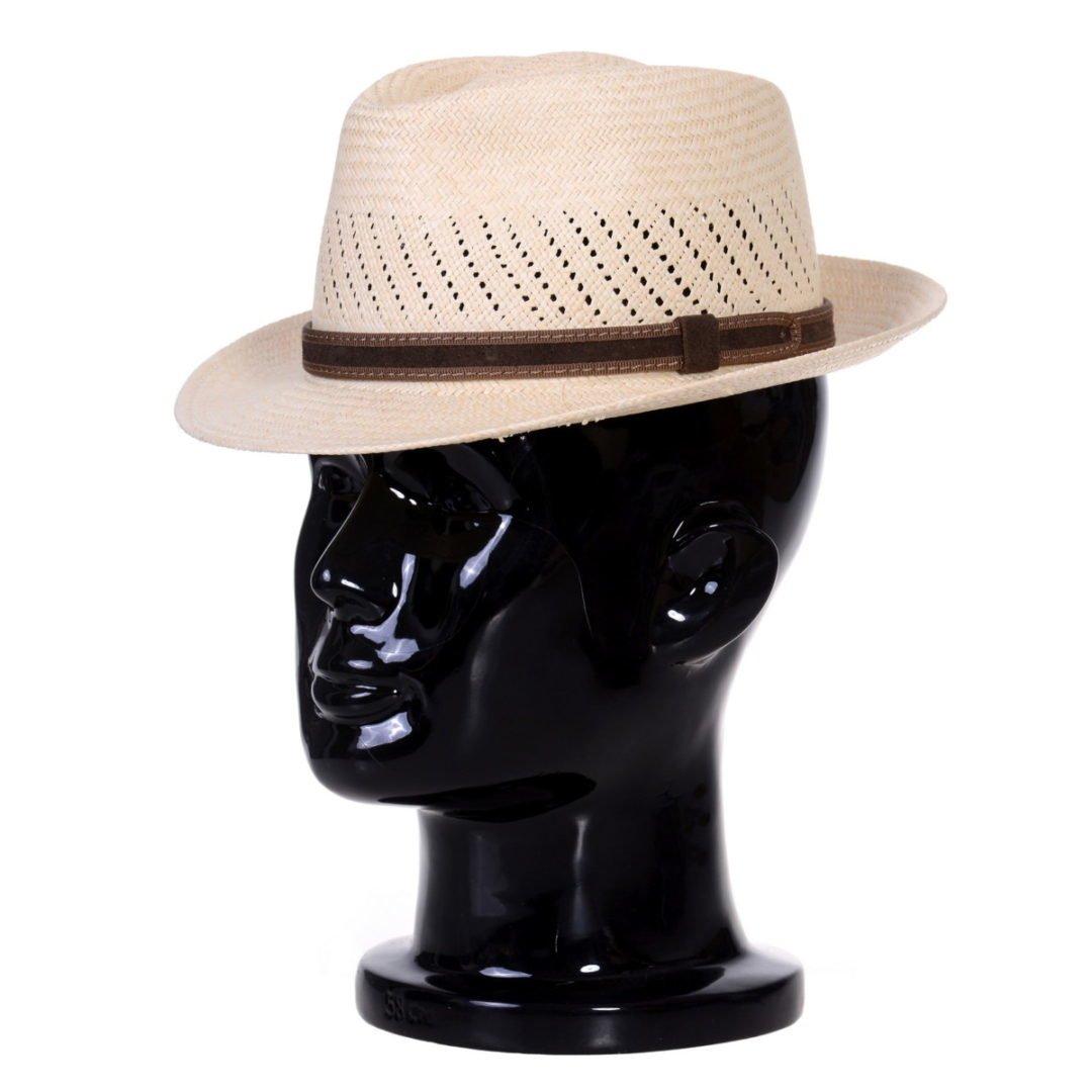 Pălărie Panama Marco randa naturale/curea de piele întoarsă maro