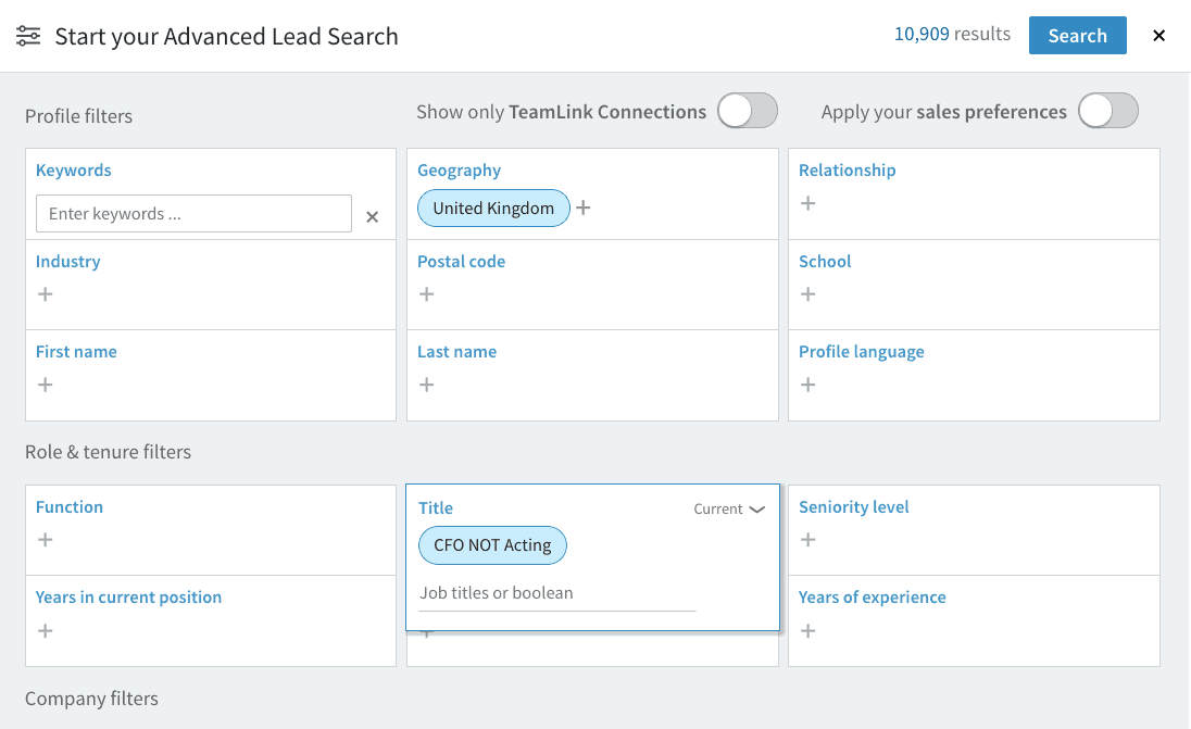 LinkedIn Sales Navigator advanced search