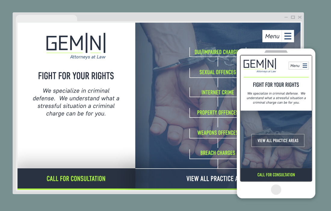 Example lawfirm website & mobile view - unquie navigation minimal appearance