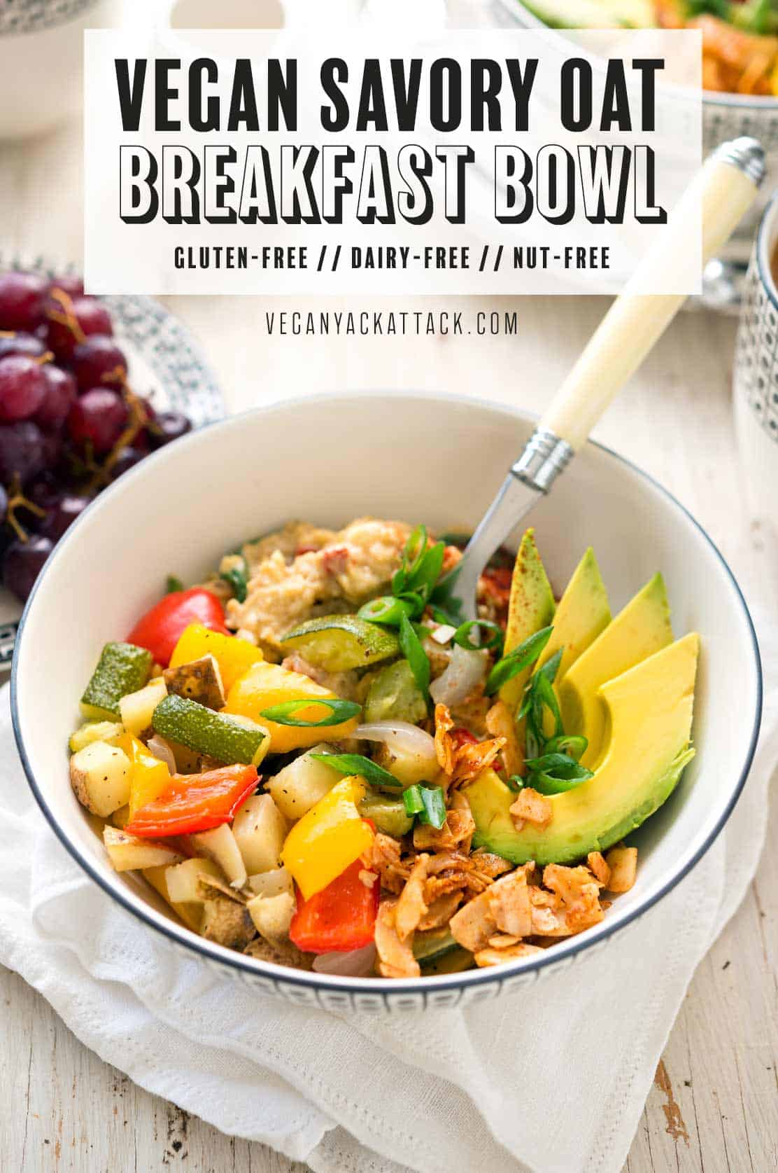 "Image of food in bowl on a white table top with white linen, and text reading ""vegan savory oat breakfast bowl"""