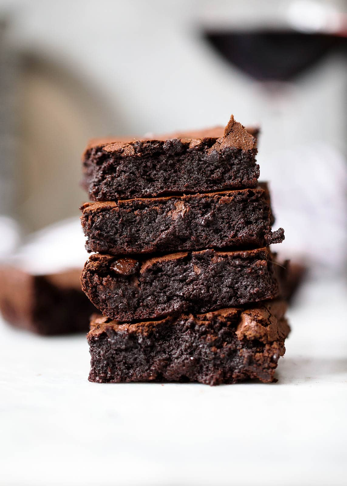 red wine brownies in a stack