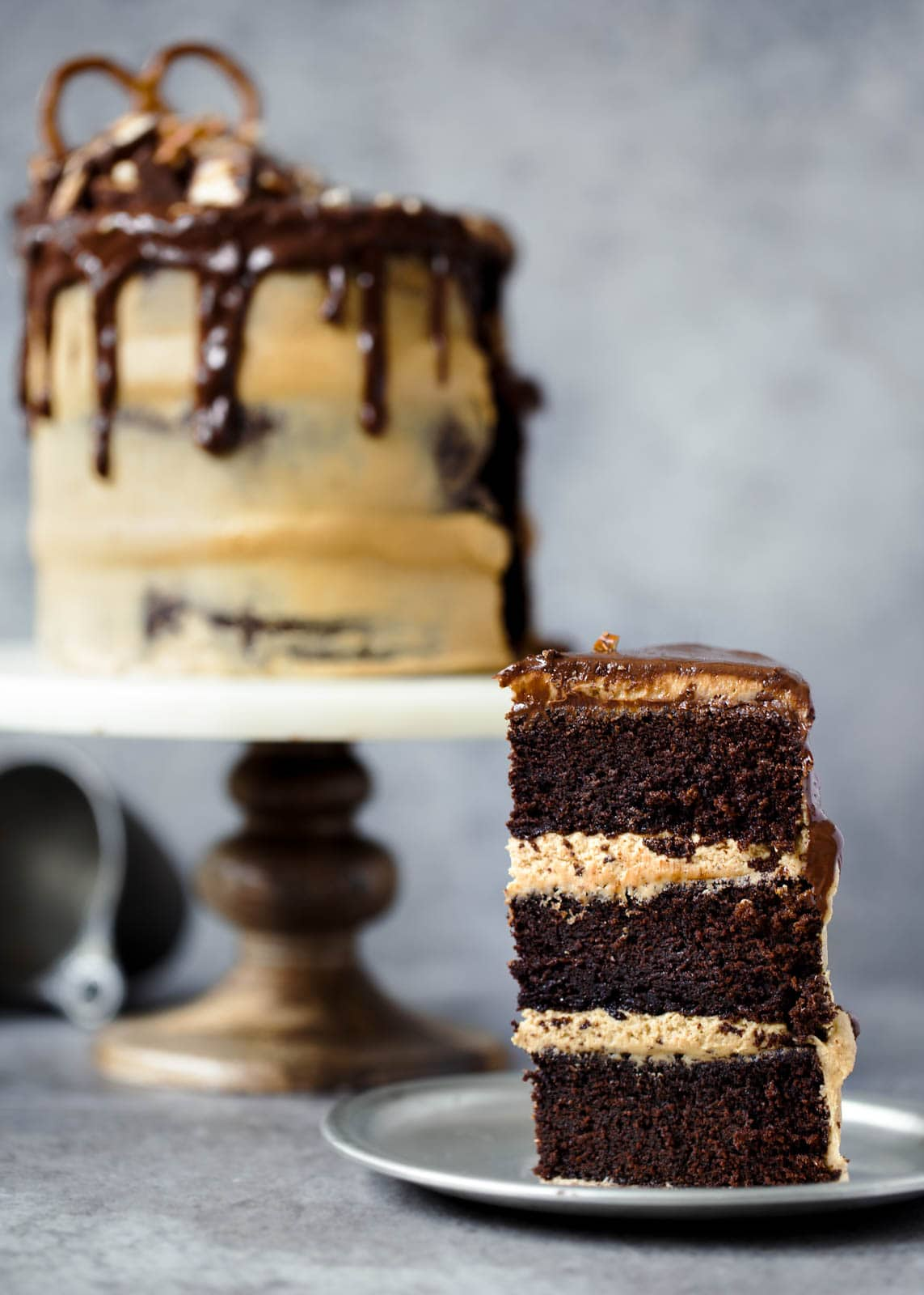 slice of Peanut Butter Chocolate Stout Cake on a plate