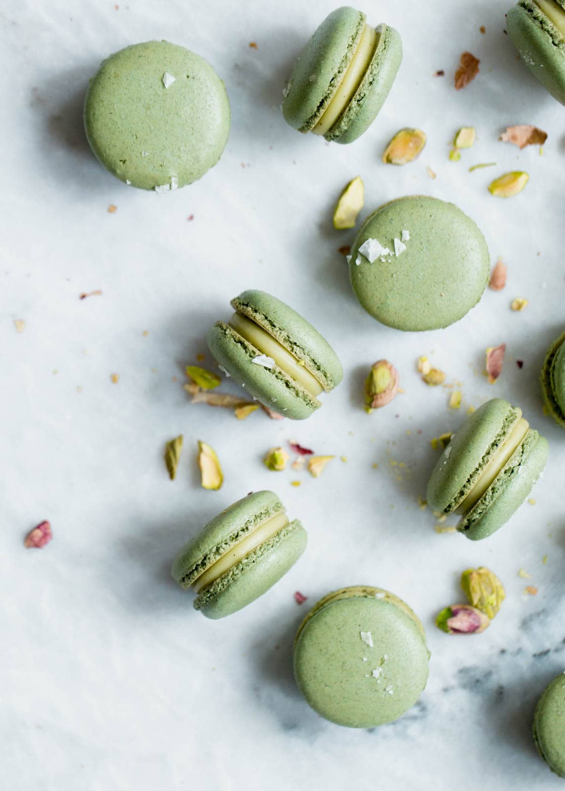 Pistachio macarons with a white chocolate pistachio ganache. Zomg.