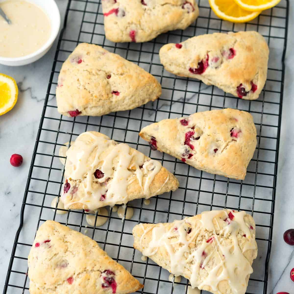 Delicious Glazed Cranberry Orange Scones, gone #vegan! Easy-to-make and so delicious. #soyfree #dairyfree #nutfree @VeganYackAttack