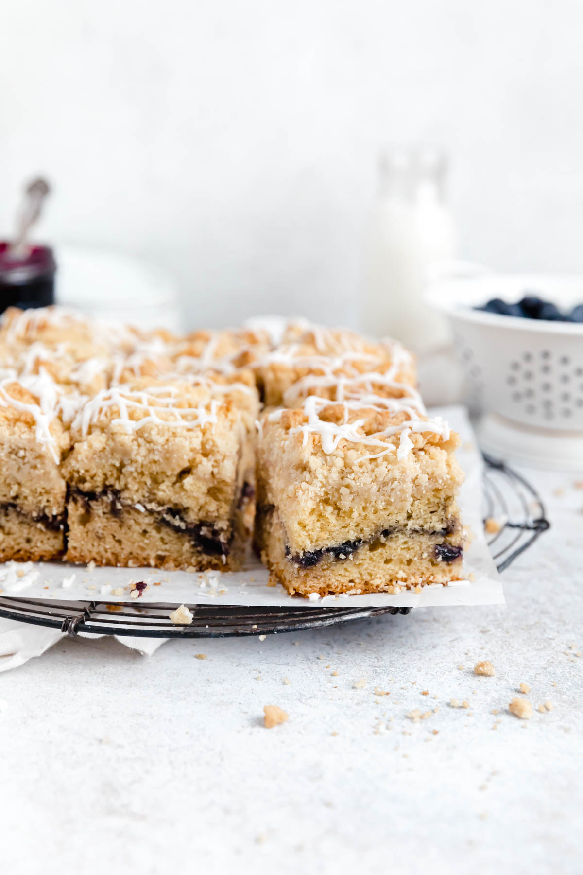 blueberry coffee cake on a cooling rack