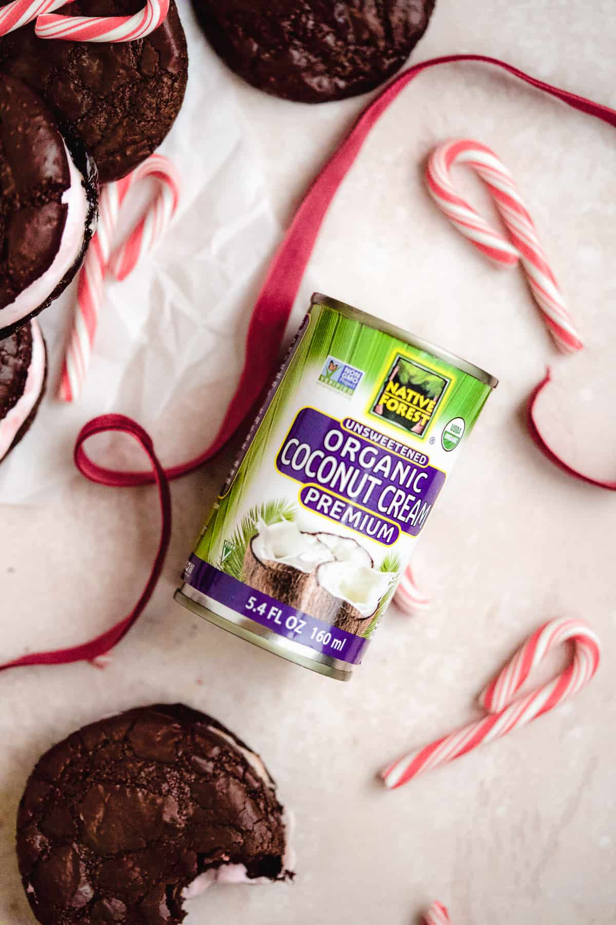 Overhead photo of Native Forest Unsweetened Organic Coconut Cream used in this recipe for Peppermint Brownie Sandwich Cookies.