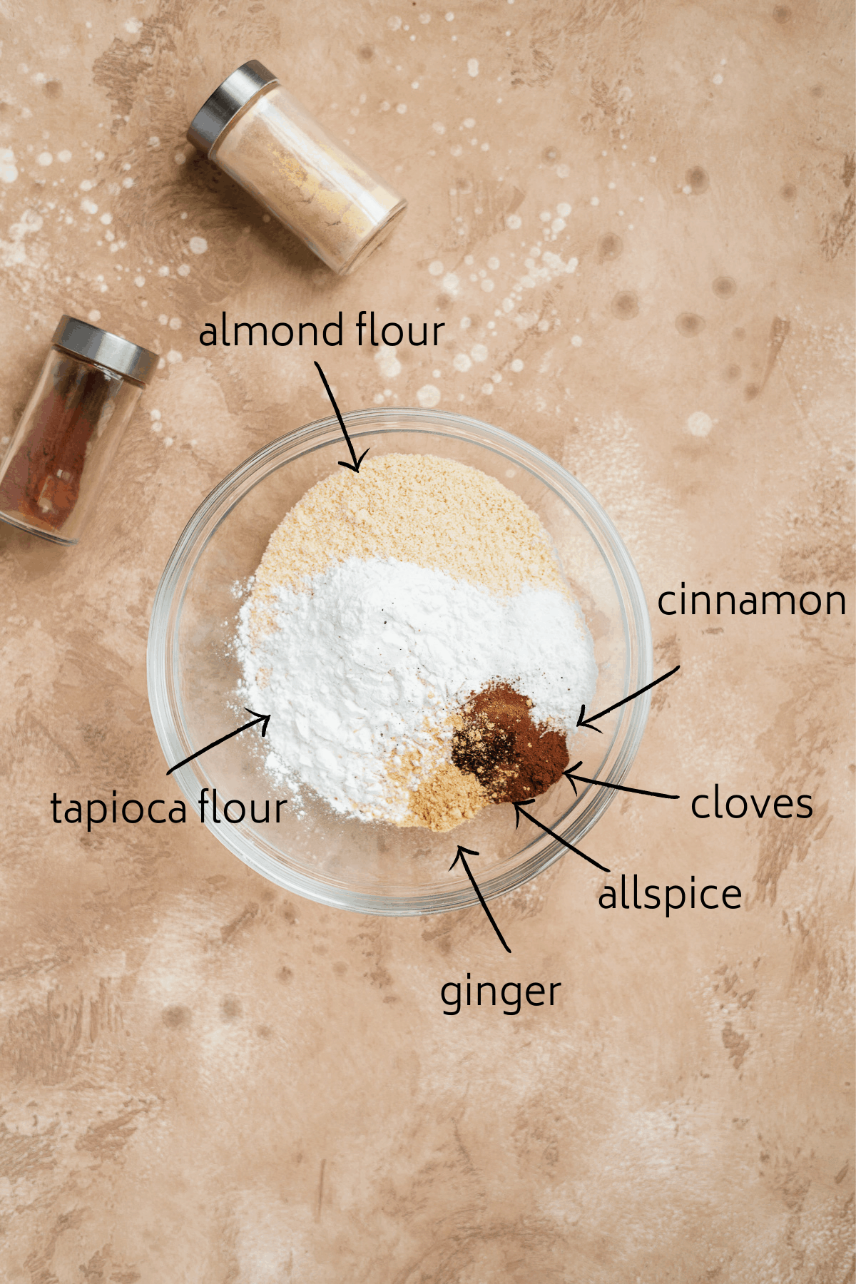 Overhead view of the ingredients included in the recipe for Soft and Chewy Ginger Snap Cookies.