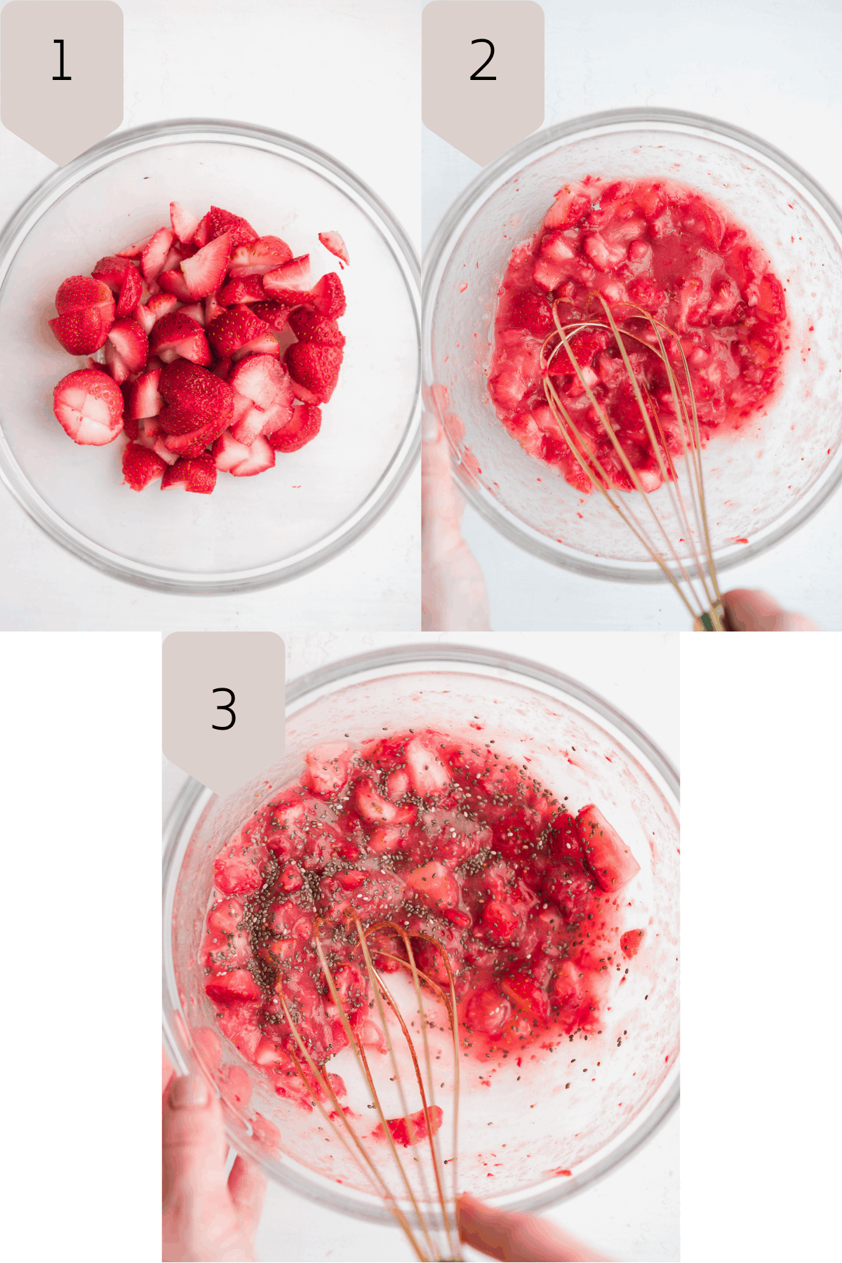 Bowl of strawberries being mashed up with a whisk with chia seeds