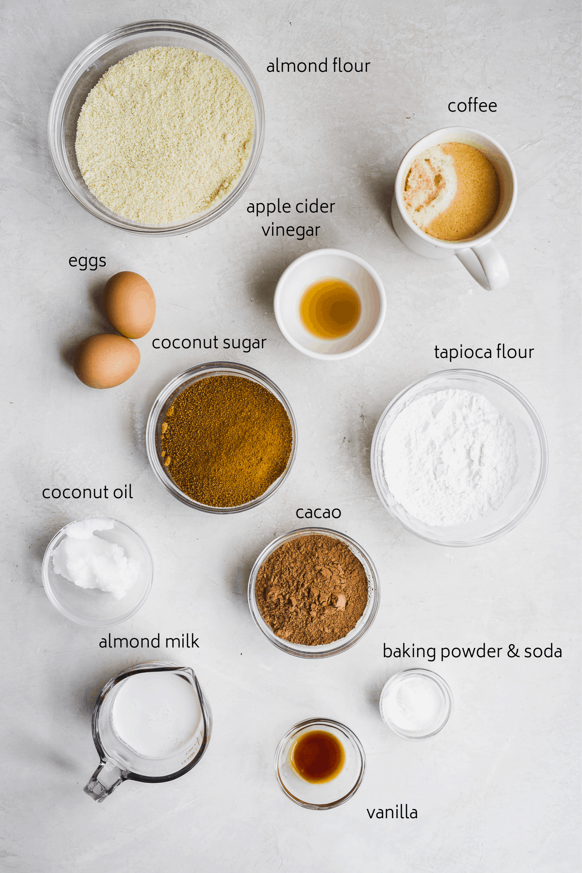 Image of cupcake ingredients with labels on a white surface.