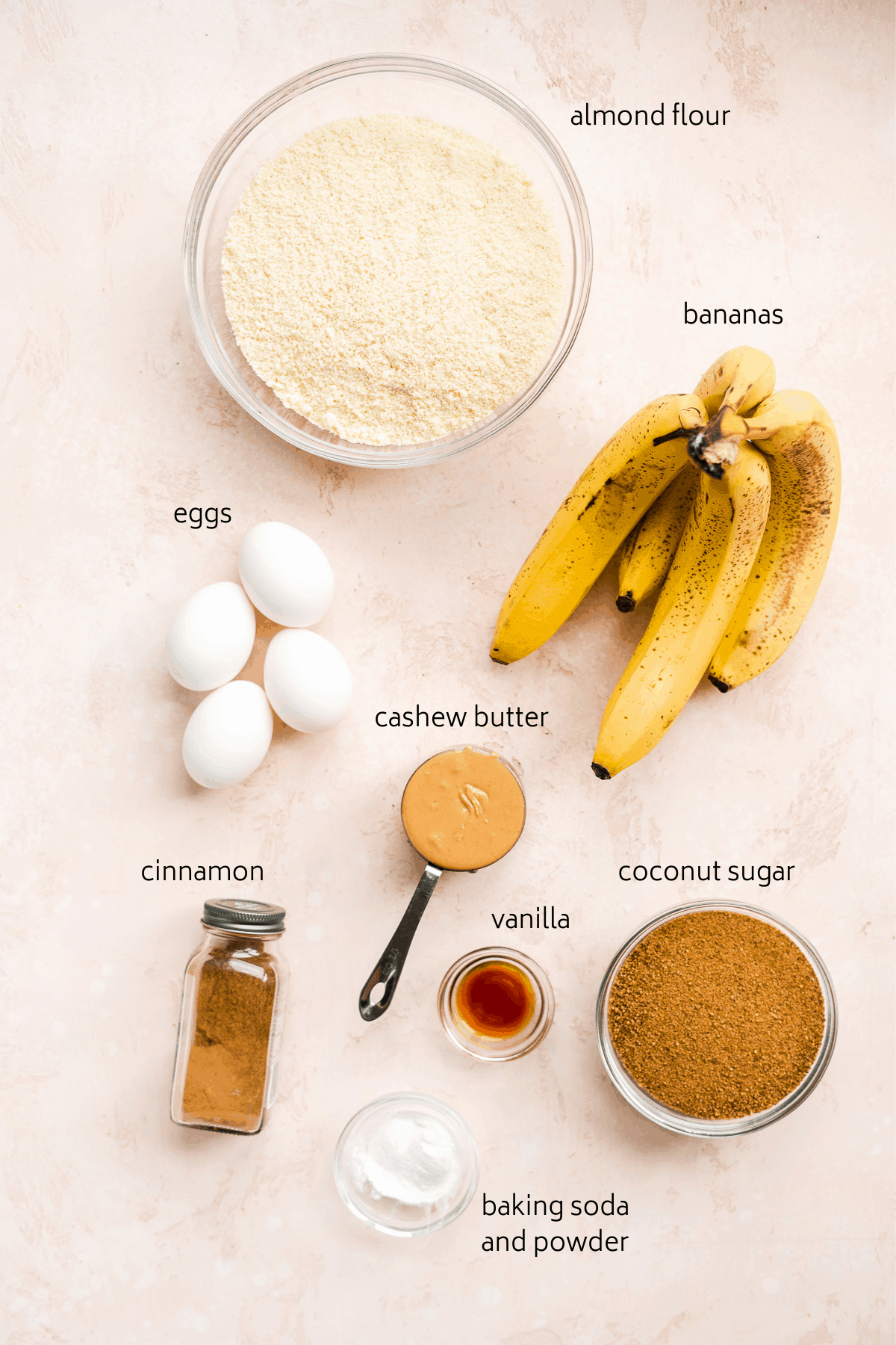 Image of ingredients on pink surface with black labels including bananas, eggs, cashew butter, etc.