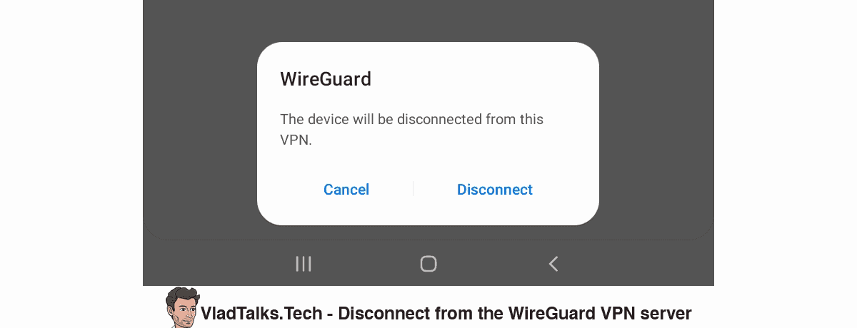 Disconnect from the WireGuard VPN server