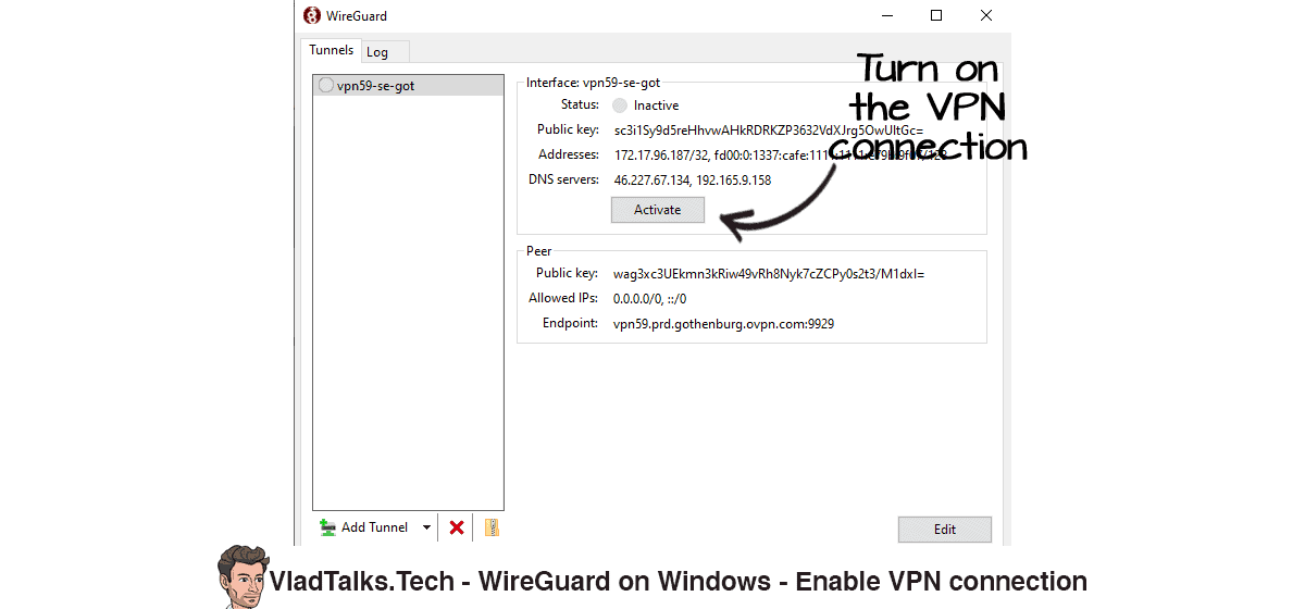 WireGuard on Windows -  Turn on the VPN connection (Activate)