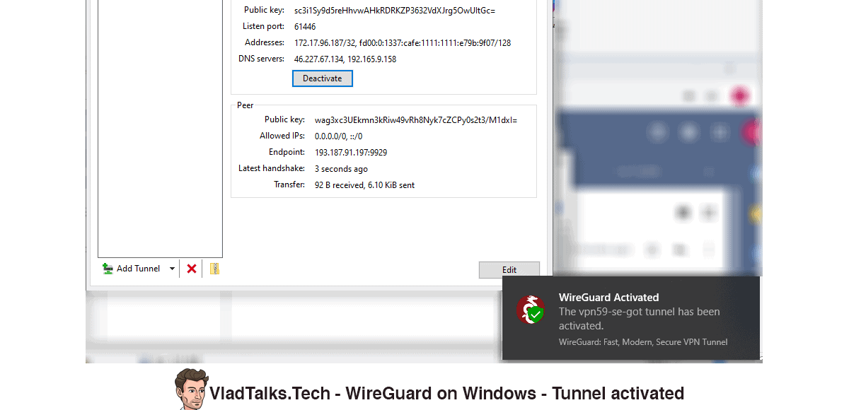 WireGuard on Windows - Connection activated