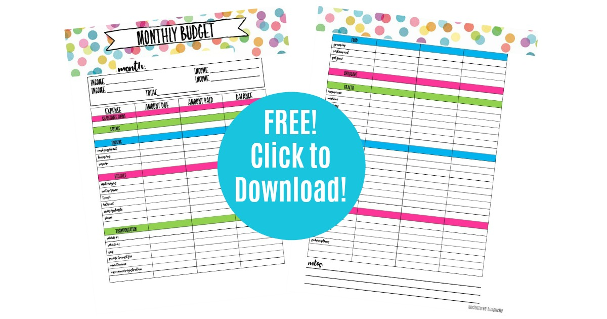Benefits of Living on a Budget Free Printable.