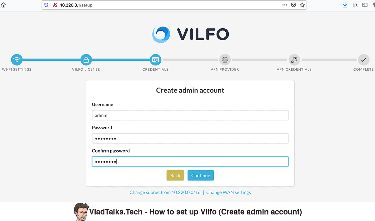 Vilfo setup - Create admin account