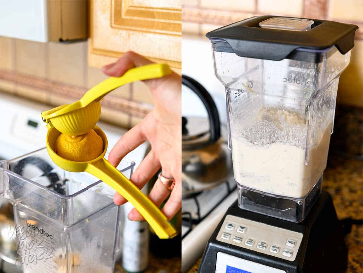 Using a citrus reamer to squeeze lemon juice into a blender pitcher on the left, and vegan cream cheese being pureed in a blender on the right