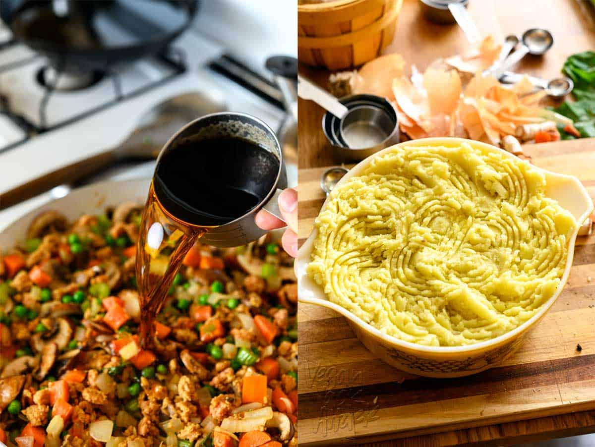 Left image: Pouring a stout beer out of a measuring cup and into a pan of shepherd's pie filling. Right image: shepherd's pie assembled in a large pyrex dish, with textured potato topping, before baking, on top of a cutting board.