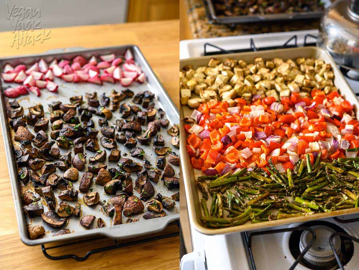 Two sheet pans with roasted mushrooms and different vegetables spread across them