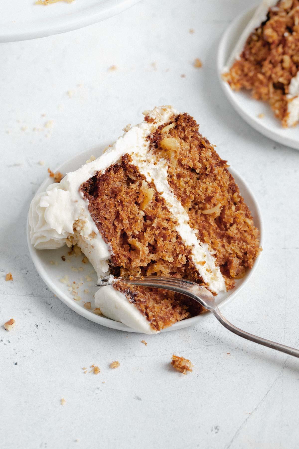 slice of the best carrot cake