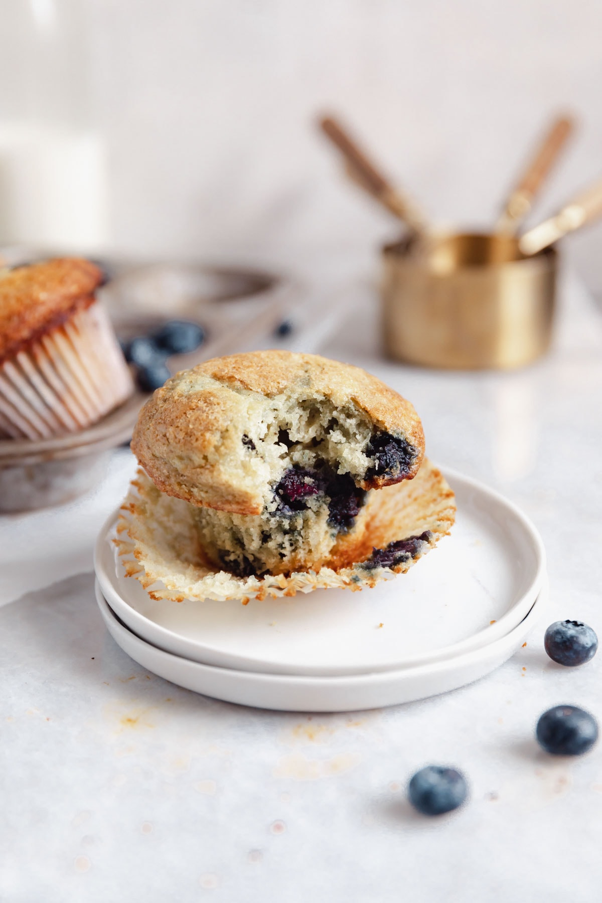 blueberry muffin with a bite taken out