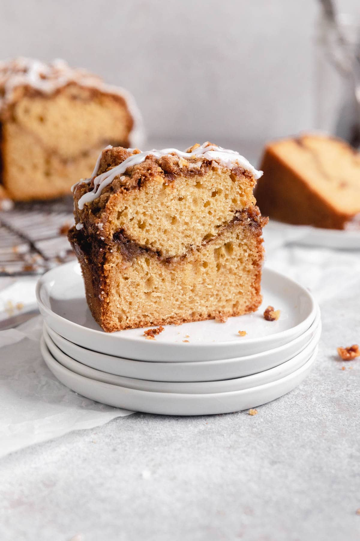 slice of classic coffee cake with buttery streusel