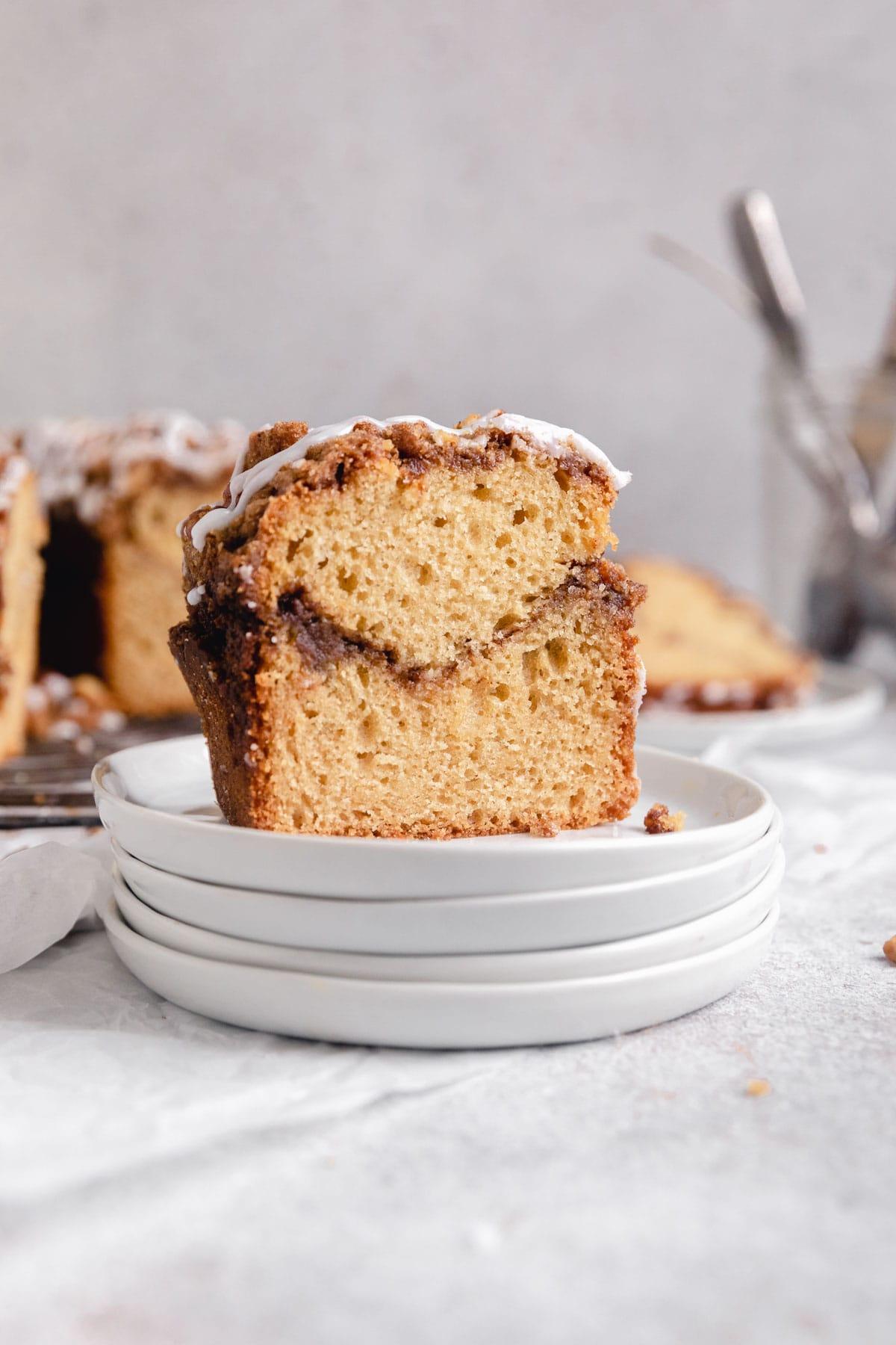 slice of coffee cake with cinnamon sugar swirl