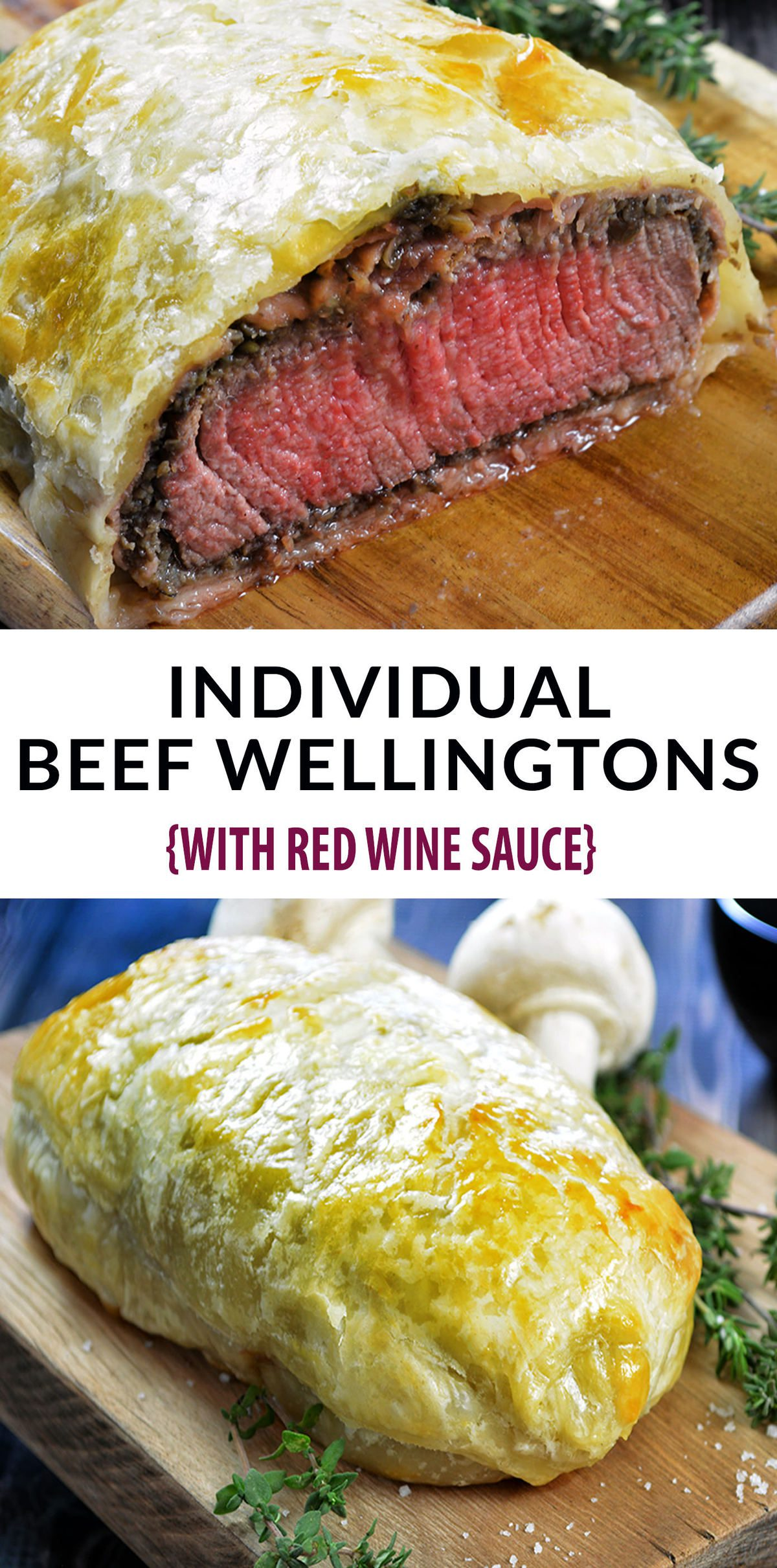 Beef Wellington Recipe - just like Gordon Ramsey's Beef Wellington. Decadent and tender filet mignon, topped with a rich mushroom duxelles, delicate prosciutto and wrapped in a golden, buttery puff pastry. Individual Beef Wellington is the perfect Valentine's Day meal. #valentinesdayfood #valentinesdayideas #valentinesdaydinner #filetmignon #beefrecipes #beeftenderloinrecipes #puffpastryrecipes #dinnerrecipes #redwinerecipes #beefwellington #beefwellingtonrecipe #beefwellingtongordeonramsey #beefwellingtoneasy #beefwellingtonsauce