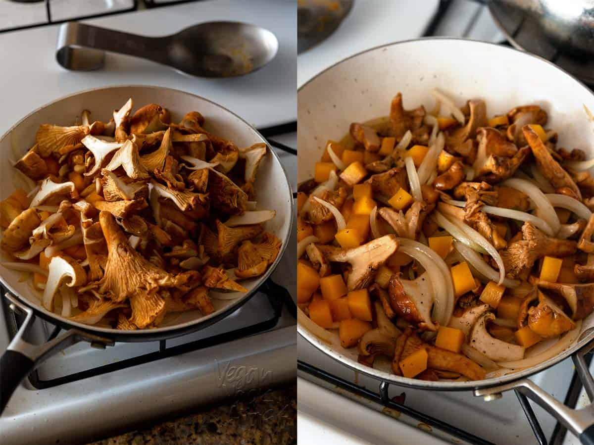 Sauteing chanterelle mushrooms with onion and butternut squash