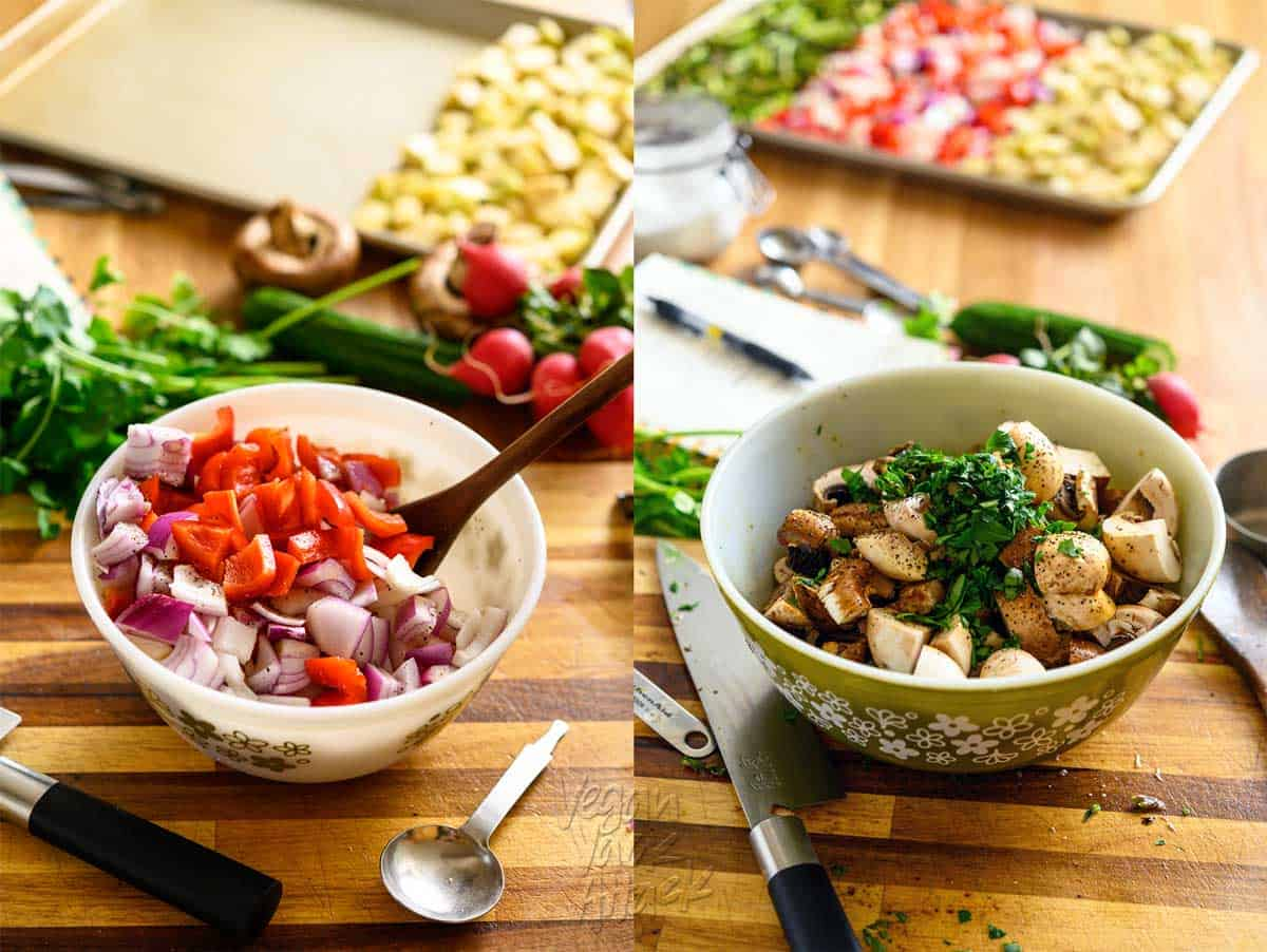 Image collage with two mixing bowls filled with bell pepper mixture and mushroom mixture