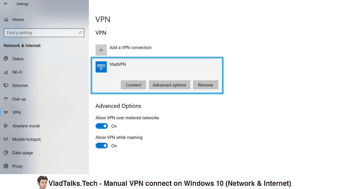 Image showing how to manually connect to VPN from Settings, Network and Internet