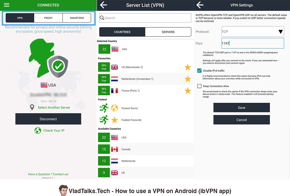 Screenshots of the ibVPN Android app - Connect, locations, VPN protocols, Proxy, SmartDNS - Best Android VPN app