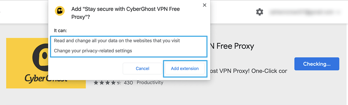VPN for Chrome - VPN extension permissions for CyberGhost VPN
