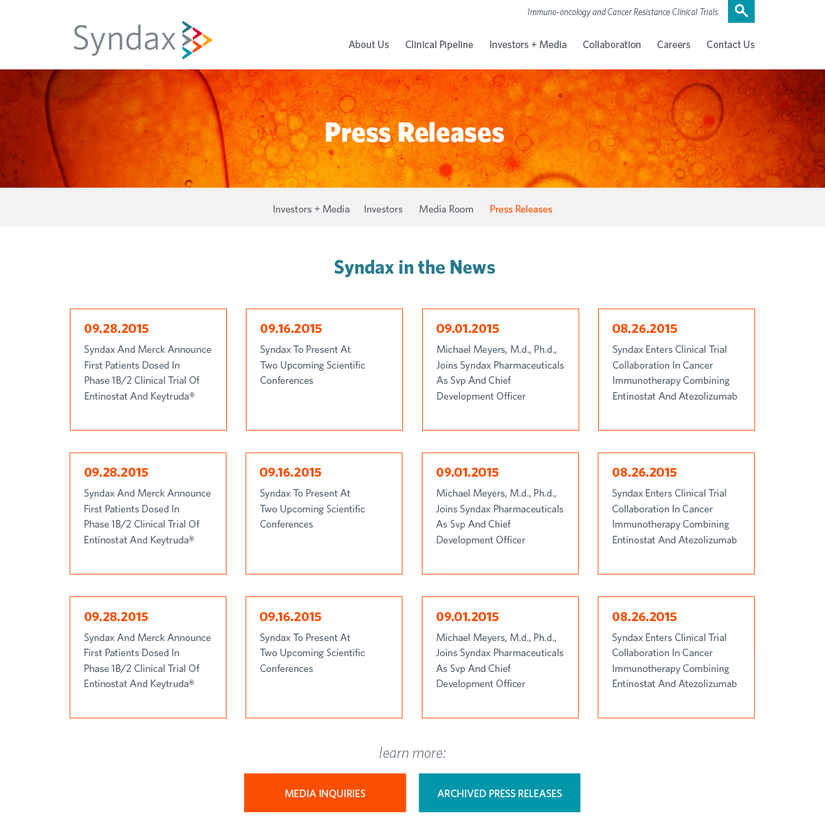 Syndax - Press Releases