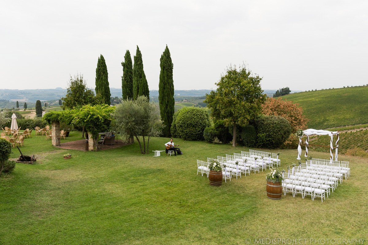 outdoor ceremony setup at Fonte dei Medici by Original Tuscan Wedding