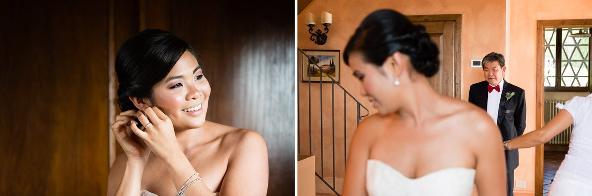 asian bride getting ready for her wedding in Italy