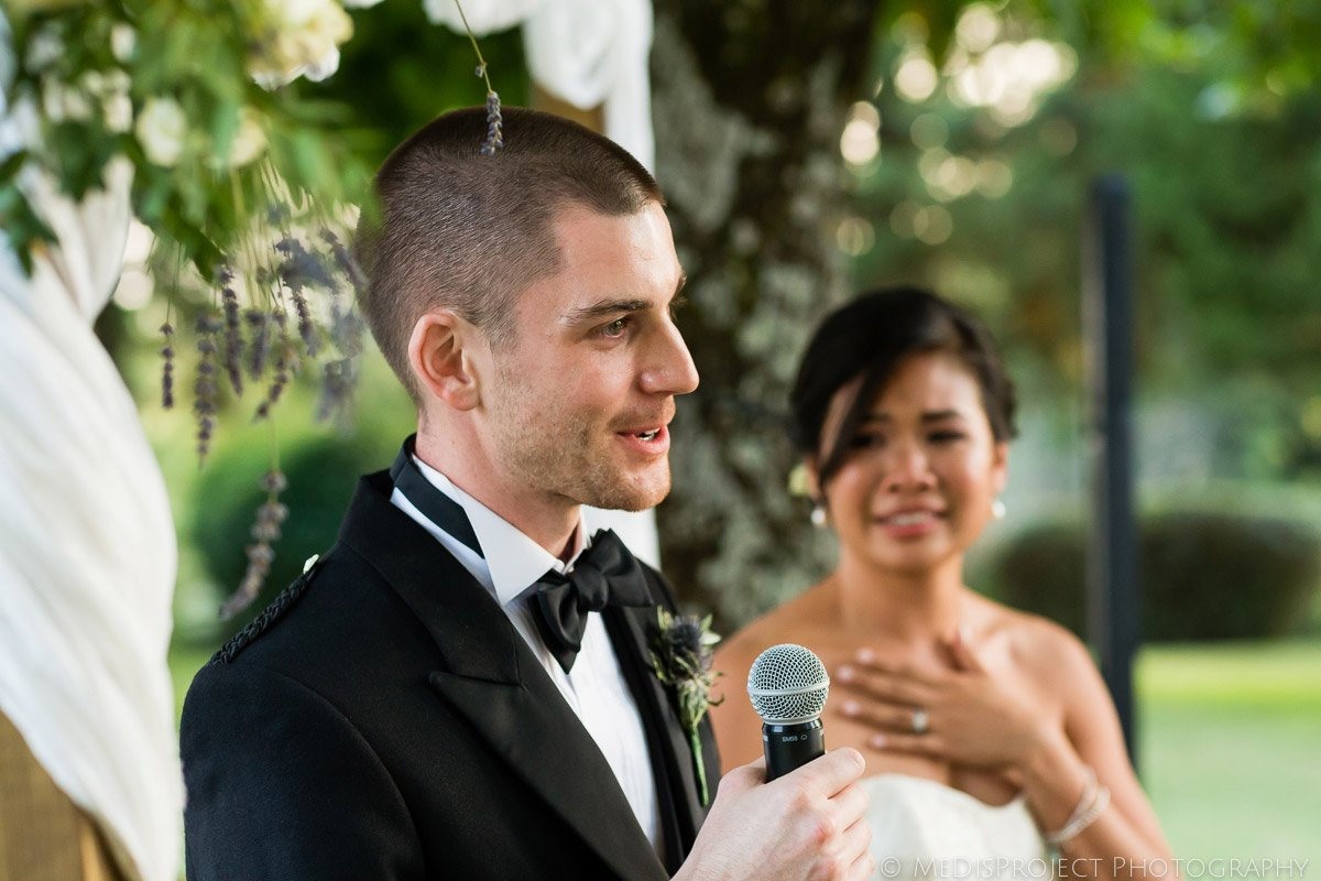 bride and groom's speech at their wedding dinner