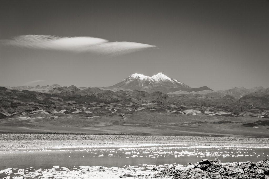 Mountain and Laguna Baltinache in black and white