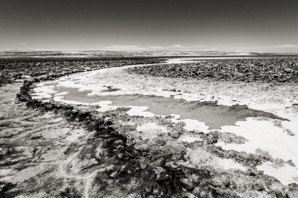 High contrast image of Laguna Baltinache in black and white