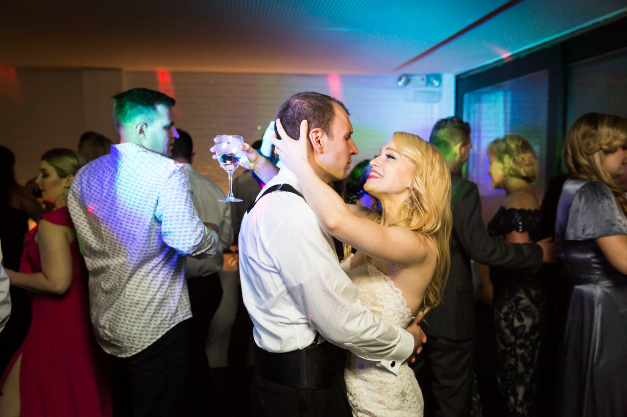 Bride and groom dancing at reception at a Central Park Conservatory Garden wedding