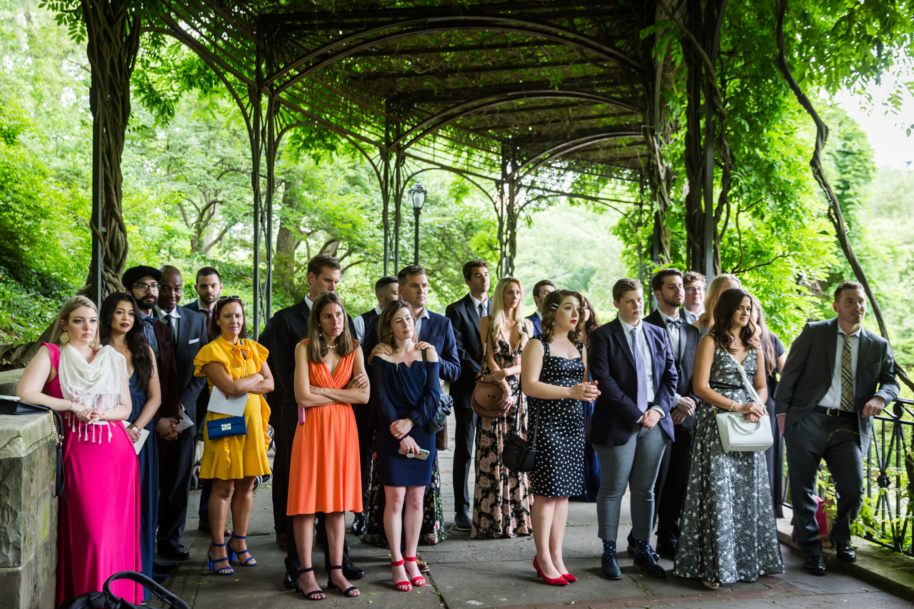 Guests standing at a Central Park Conservatory Garden wedding