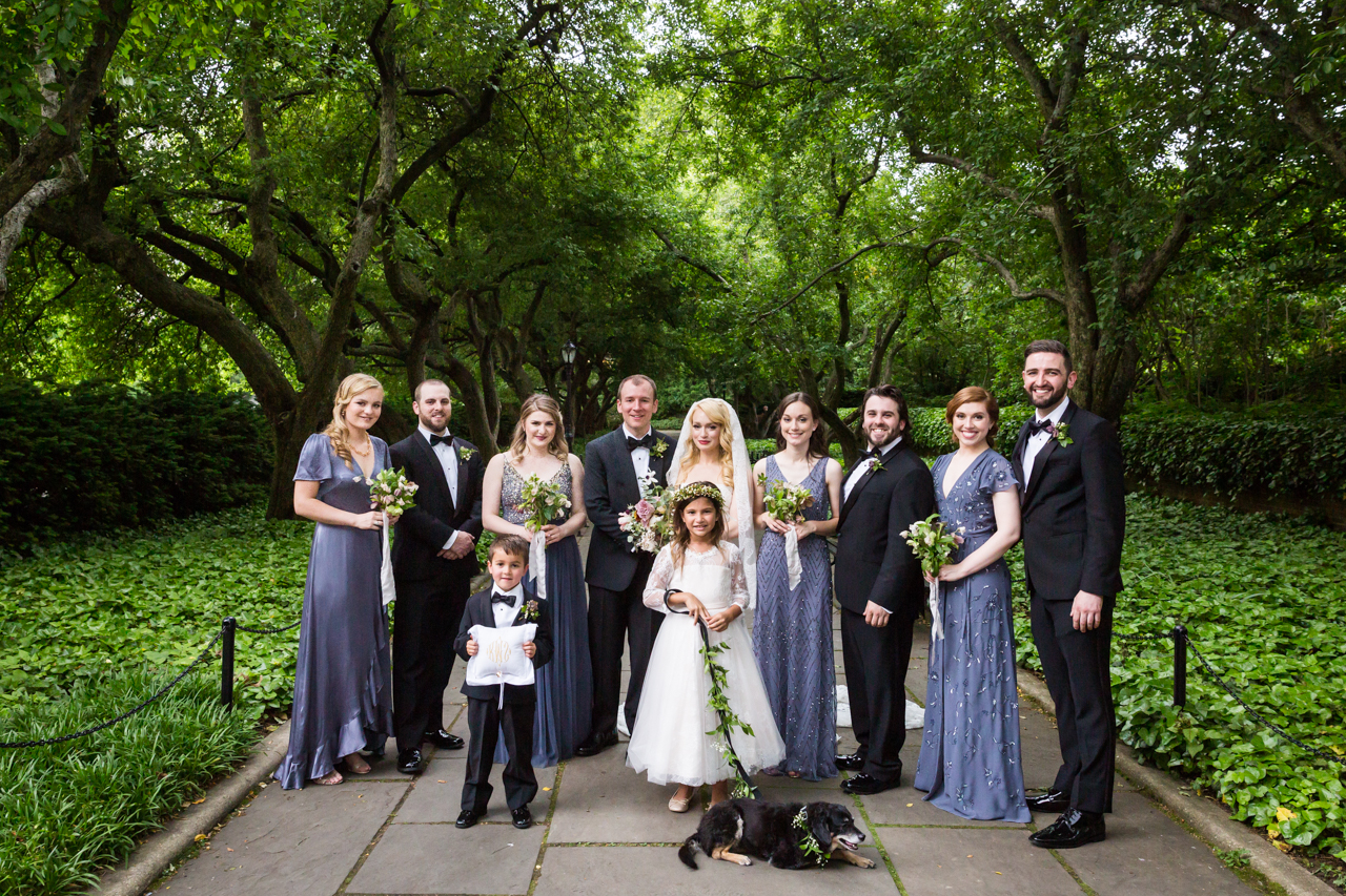 Bridal party portrait on walkway at a Central Park Conservatory Garden wedding